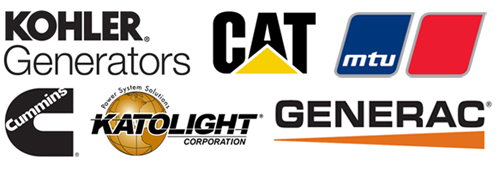 Kohler generators, CAT generators, MTU generators, Cummings generators, Katolight generators, Generac generators